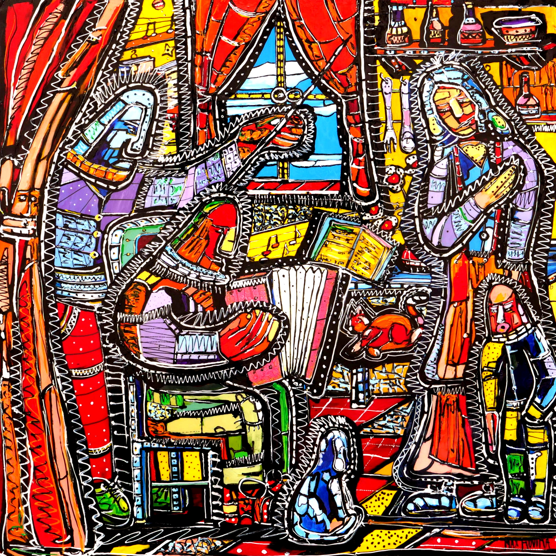 max rovira artiste peintre collioure la leçon d'accordéon