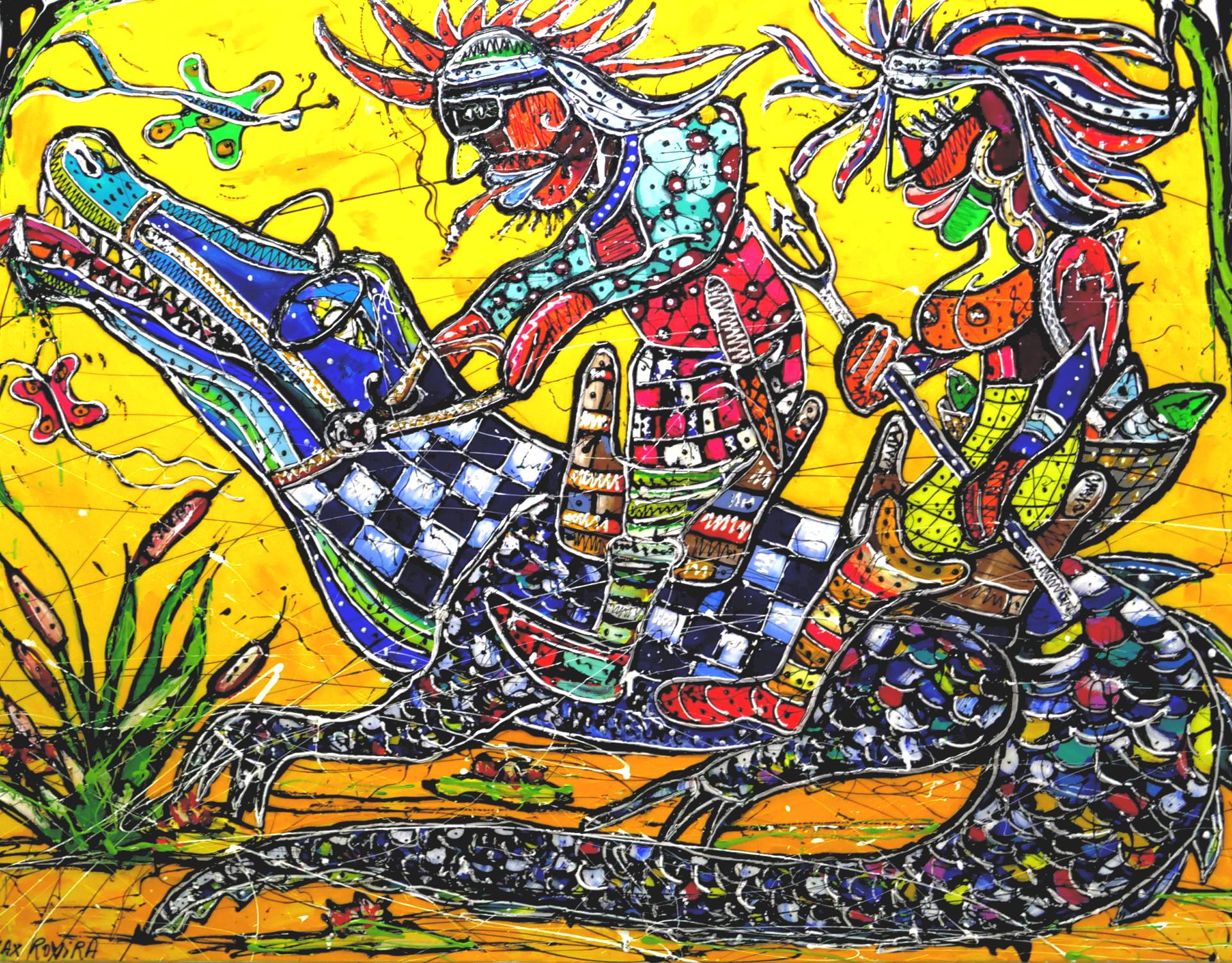 max rovira artiste peintre collioure promenade à dos de croco